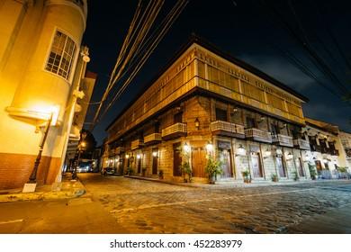Historic building at night, in Intramuros, Manila, The Philippines.