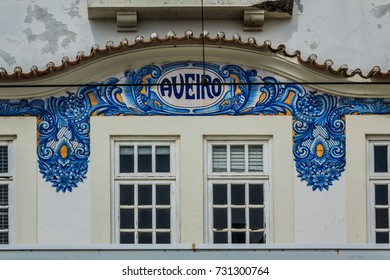 Historic building of Old Aveiro Railway station ornamented with typical blue Azulejos. Portugal.