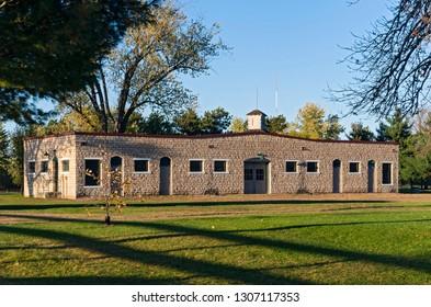 historic building on st feriole island in prairie du chien wisconsin