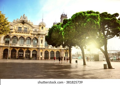 Historic building of Port de Barcelona, Barcelona, Catalonia, Spain