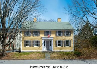 Historic building in town center in Hopkinton, Massachusetts, USA.