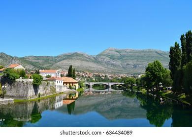 Historic buildings along the banks of the Trebišnjica River in Trebinje, Bosnia Herzegovina