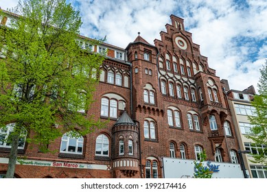 The historic buildings in the city center of Lubeck - a Unseco World Heritage Site - LUBECK, GERMANY - MAY 10, 2021
