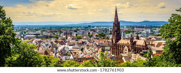 historic buildings at the famous old town of Freiburg im Breisgau