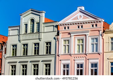 Historic buildings in the Hanseatic city Wismar in Northern Germany on the Baltic Sea