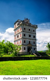 The historic buildings of Kaiping Diaolou in Zili village in Kaiping China in Guangdong province on a sunny blue sky day.