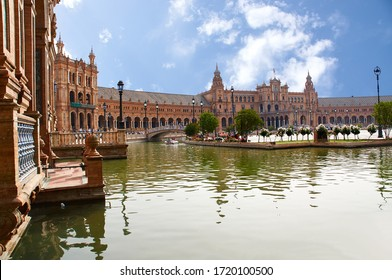 Historic buildings and monuments of Seville, Spain. Architectural details, stone facade and museums Europe. Spain square