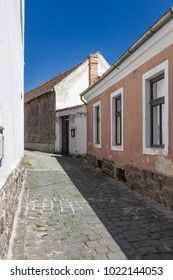 Historic buildings in a narrow street