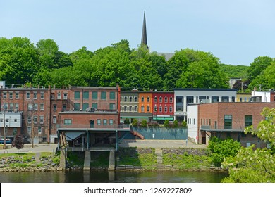 Historic Buildings on the bank of Kennebec River in downtown Augusta, Maine, USA.