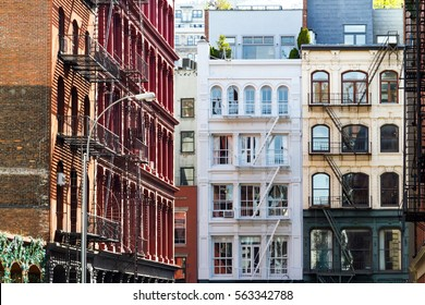 Historic buildings on Crosby and Howard Street in the SoHo neighborhood of Manhattan, New York City NYC