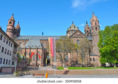 historic buildings and park in Mainz, Germany