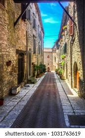 Historic buildings road, Tuscany, Italy