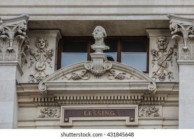 Historic Burgtheater (Imperial Court Theatre) - Austrian National Theatre in Vienna. Design by Gottfried Semper and Karl Hasenauer, 1888. Architectural details. Vienna, Austria.