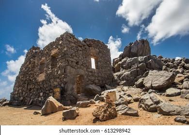 Historic Bushiribana Gold Mine ruins tourist attraction in Aruba