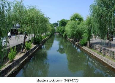 Historic canal in Kurashiki, Okayama, Japan
