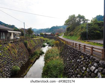 Historic canal in an old town in Kagoshima, Japan