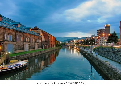 Historic canal and warehouse district in Otaru,Hokkaido, Japan at twilight.