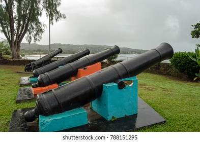 Historic cannon at the eighteenth century Fort James on the Caribbean coastline of Tobago, Trinidad and Tobago.  The fort was used by a number of settlers including the French and British.