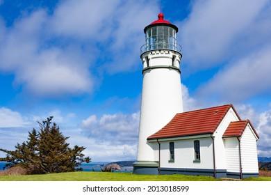 Historic Capo Blanco Lighthouse in Capo Blanco State Park, Oregon, OR, USA