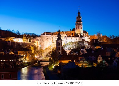 Historic castle of Cesky Krumlov at night, Czech Republic