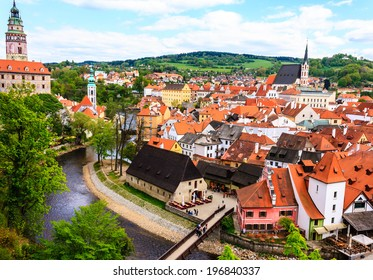 Historic castle of Cesky Krumlov and town in Czech Republic