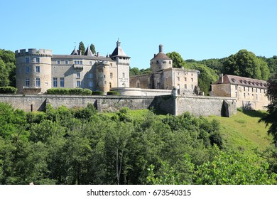 The historic Castle Chastellux in Burgundy, France, view from the rural road