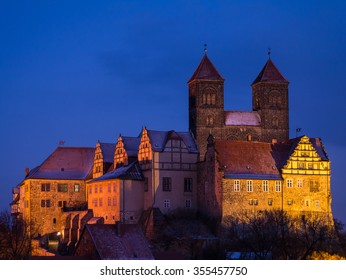 the historic castle of Quedlinburg at twilight, Germany