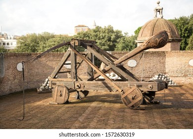 Historic catapult on the stands of a Castle, horizonal image