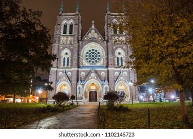 Historic Catholic Cathedral in London, ON, Canada, at Night