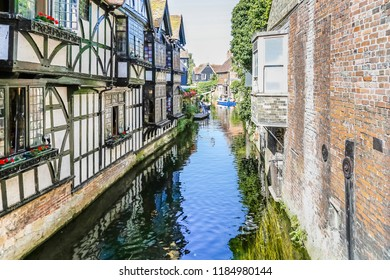 Historic center of Canterbury with half timbered houses and the river Great Stour, Kent, UK