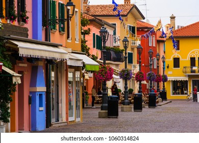 The historic center of Caorle with its bright colors