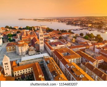 Historic center of the Croatian town of Zadar at the Mediterranean Sea, Europe.