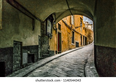 Historic center of florence oltrarno district urban street view