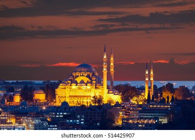 The historic center of Istanbul at sunset. Turkey