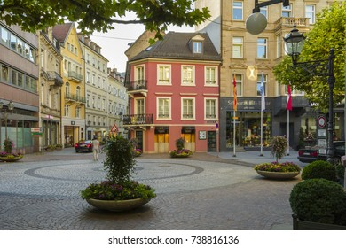 Historic center with Shopping street and Pedestrian zone, with many restaurants and terraces full with tourists on July 29, 2017 in Baden Baden, Baden-Wurttemberg, Germany.