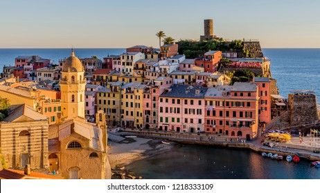 The historic center of Vernazza illuminated by the setting sun, Cinque Terre, Liguria, Italy