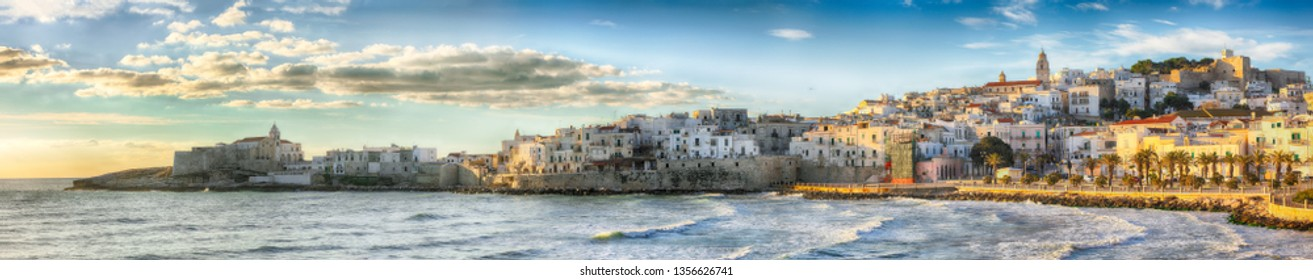 Historic central city of the beautiful town called Vieste. View at the coast of Vieste on Puglia, Italy, Europe