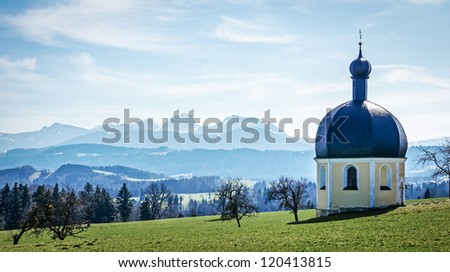 historic chapel at the european alps - irschenberg - germany - wilparting