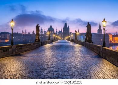 Historic Charles Bridge in Prague in winter, Czech Republic - Shutterstock ID 1531501235