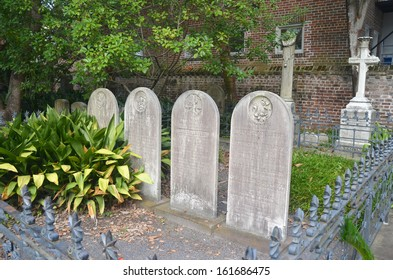 Historic Charleston graveyard headstones