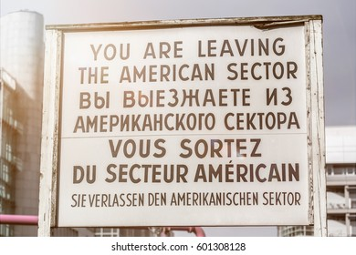 historic checkpoint charlie sign berlin germany