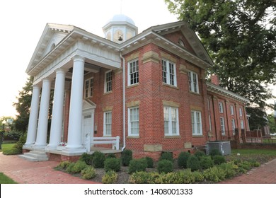 Historic Chesterfield County Courthouse in Chesterfield, Virginia was built in 1917 and features Roman Doric columns and portico.  The cupola contains the original bell from the 1750 Courthouse.