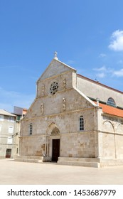 Historic Church of the Assumption on main square in town Pag, island Pag, Croatia.