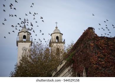 Historic church of Basilica del Santisimo Sacramento, in town of Colonia del Sacramento, Uruguay, South America.
