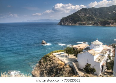 Historic church in the center of Skopelos town on Skopelos island in Greece