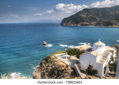 Historic church in the center of Skopelos town on Skopelos island in Greece