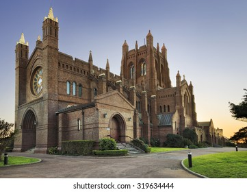 historic church of england anglican brick cathedral in Newcastle Australia at sunrise
