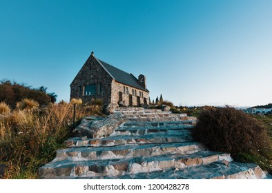 Historic Church Of the Good Shepherd on Lake Tekapo in New Zealand in late afternoon, just prior to sunset