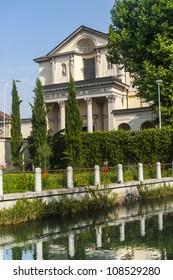 Historic church in Gorgonzola (Milan, Lombardy, Italy), on the Martesana canal