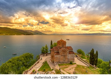 Historic Church of Saint John the Theologian, situated on the cliff over Kaneo Beach overlooking Lake Ohrid in the city of Ohrid, Republic of Macedonia